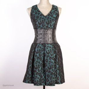 Maggy London Teal Leopard Print Dress